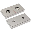 "2""x1""x1/4"" Neodymium Block Magnet w/ 2 #8 Countersunk Holes"