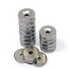 "Neodymium Disc Magnet Shatter Resistant N52 3/4"" x 1/8"" w/ #8 Countersunk Hole Stainless Steel Covered"