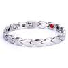 Magnetic Bracelet Novoa Women's Quad-Element Stainless Titanium Two-Tone Silver Clovers