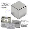 "1"" Neodymium Rare Earth Cube Magnet with team box"