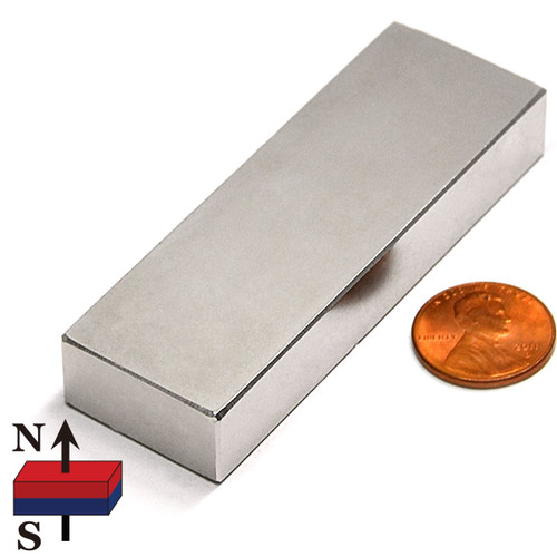 "N50 Rectangular 3x1x1/2"" NdFeB Rare Earth Magnet"