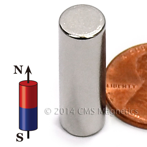 "N50 cylinder magnets Neodymium Cylinder Magnet N52 5/16""x1"" Rare Earth Cylindrical magnets (ND0245-52NM)"