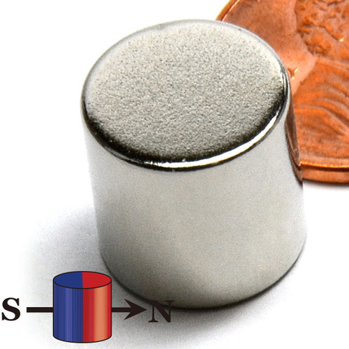 "N42 Neodymium Cylinder Magnet 1/2""x1/2"" Diametrically Magnetized (ND040-42NMS)"
