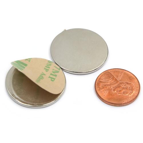 """1""""x1/16"""" Neodymium Magnet w/ 3M Adhesive  Adhesive Neodymium Disc Magnets"""