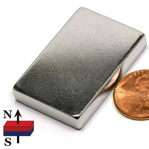 """1 1/2x1x1/4"""" Rare Earth N50 1-1/2""""x1""""x1/8"""" Neodymium Rare Earth Block Magnet (NB021362-50NM)"""