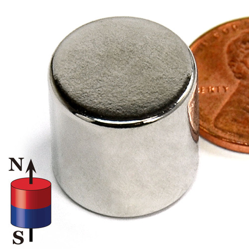 main picture of a magnet next to a penny and the pole indicator neatly placed on the lower left of the magnet to make sure that you know which pole is which