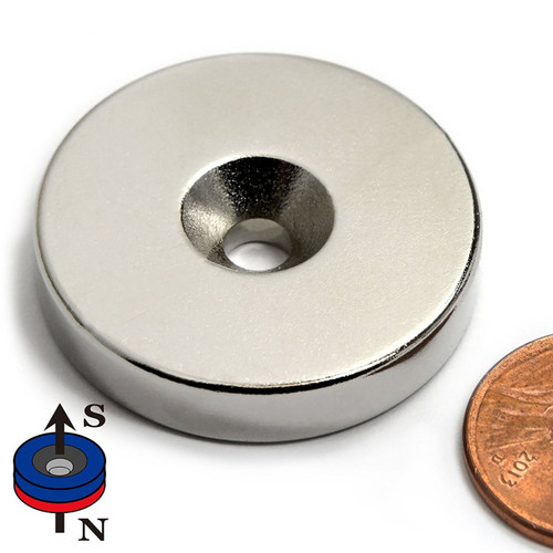 "N52 Neodymium Disc Magnet Dia 1.26 x 1/4"" w/ #10 Countersunk Hole on N or S"
