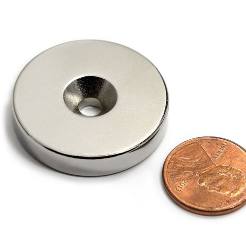 "Neodymium Rare Earth Disc Magnet N52 1.26"" x 1/4""w/ #10 Countersink| CMS Magnetics"