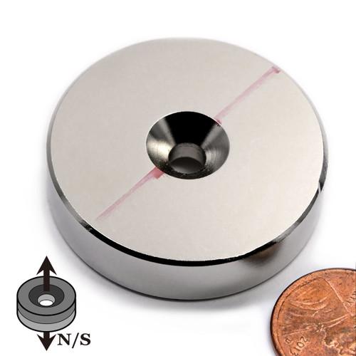 "N45 1-1/2"" x 3/8"" Neodymium Rare Earth Disc Magnet w/ #10 Countersink on Both Sides"