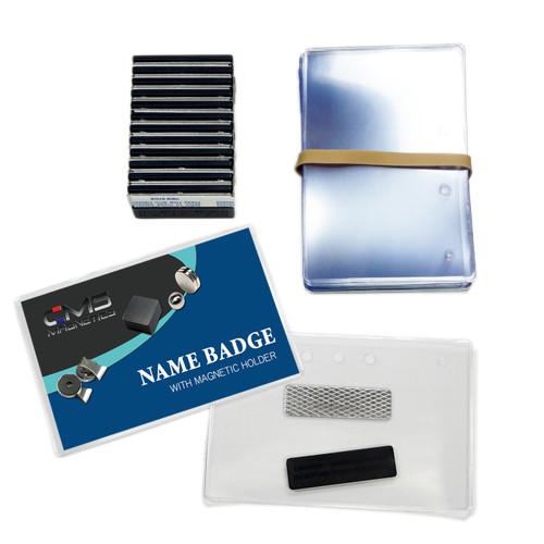 """12 Sets of Magnetic Name Badges DIY  Kit w/ 2.5"""" x 4"""" Premium Top Loading Badge Holder"""