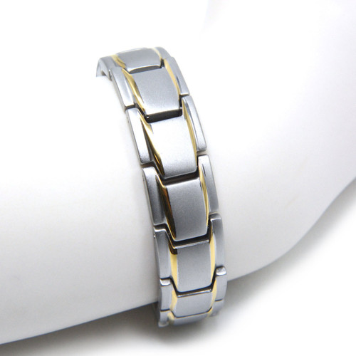 Novoa Men's Quad-Element Satin Stainless Steel Magnetic Bracelet With Gold Accents