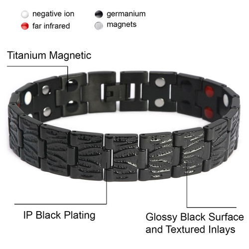 "<img src=""mens  magnetic bracelet .png"" alt=""casual magnetic therapy jewelry  strong  front view   Novoa Men's Quad-Element Polished Silver Titanium Magnetic Bracelet with Carbon Fiber Inlays  "">"