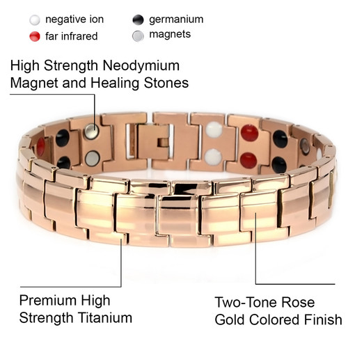 """<img src=""""mens gold color magnet bracelet .png"""" alt=""""casual magnetic therapy jewelry  strong  top view    magnetic-bracelet-jewelry   Novoa Men's Rose Gold Colored  B246QM     """">"""