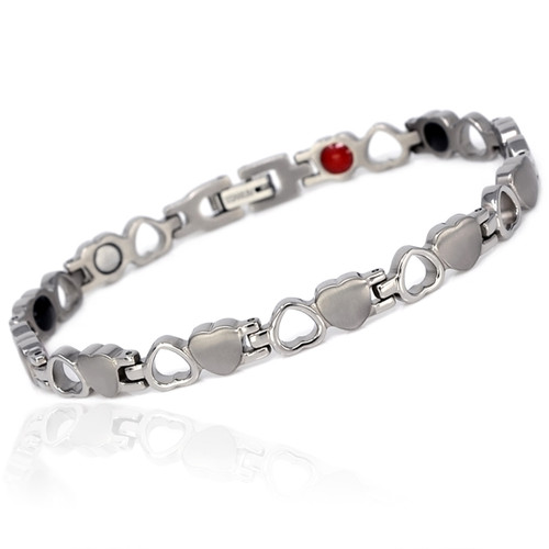 """<img src="""" womens  silver heart magnet bracelet .png"""" alt=""""casual magnetic therapy jewelry  strong  side view  Magnetic bracelet Novoa Women 's  Silver Heart Magnetic B185       """">   Magnetic bracelet Novoa Women 's  Silver Heart Magnetic B185"""