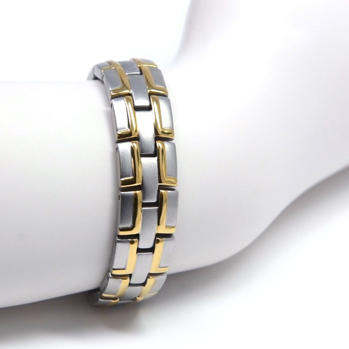 """<img src=""""mens  magnet bracelet .png"""" alt=""""casual magnetic therapy jewelry  strong  top view    Magnetic Bracelet Novoa Men's Quad-Element Satin Stainless  B072J     """">"""