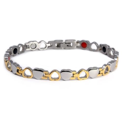 "<img src="" womens  magnet bracelet .png"" alt=""casual magnetic therapy jewelry  top view Magnetic bracelet Novoa Women 's Quad-Element 12,800 Gauss Magnetic bracelet Novoa Women 's Quad-Element Titanium Heart Magnetic Bracelet - B185J"">"