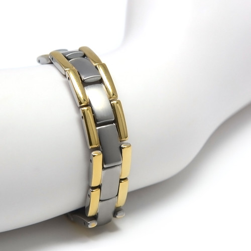 """<img src="""" mens silver titanium  & Gold color  magnet bracelet .png"""" alt=""""casual magnetic therapy jewelry   top view         Novoa Men's Quad-Element Satin Titanium Magnetic Bracelet With Gold Accents - 12,800 Gauss B430J """">"""