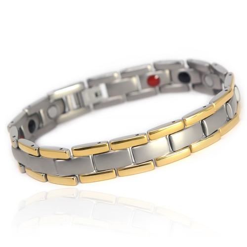 "<img src="" mens silver titanium  & Gold color  magnet bracelet .png"" alt=""casual magnetic therapy jewelry   side view         Novoa Men's Quad-Element Satin Titanium Magnetic Bracelet With Gold Accents - 12,800 Gauss B430J B246"">"