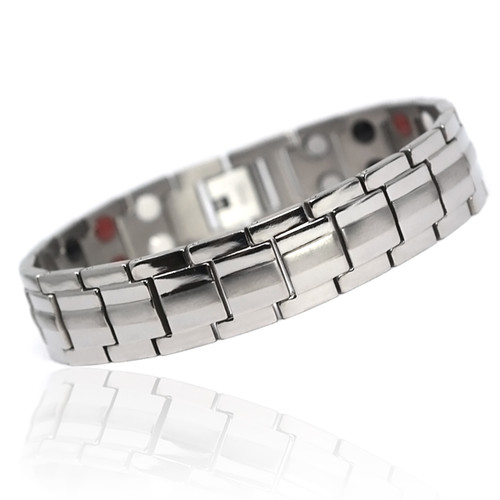 """<img src="""" mens silver stainless  magnet bracelet .png"""" alt=""""casual magnetic therapy jewelry   side view         Magnetic bracelet jewelry Novoa Women 's - 12,800 Gauss B428 Magnetic  bracelet Jewelry   Novoa Men's Quad-Element  B246"""">"""