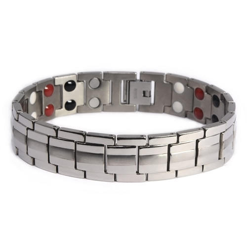 """<img src="""" mens silver stainless  magnet bracelet .png"""" alt=""""casual magnetic therapy jewelry   Front view         Magnetic bracelet jewelry Novoa Women 's - 12,800 Gauss B428 Magnetic  bracelet Jewelry   Novoa Men's Quad-Element  B246"""">"""