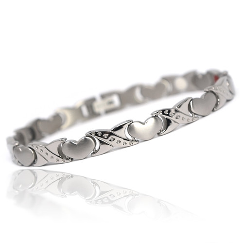 "<img src="" womens silver stainless  magnet bracelet .png"" alt=""casual magnetic therapy jewelry   Front view         Magnetic bracelet jewelry Novoa Women 's - 12,800 Gauss B428"">"