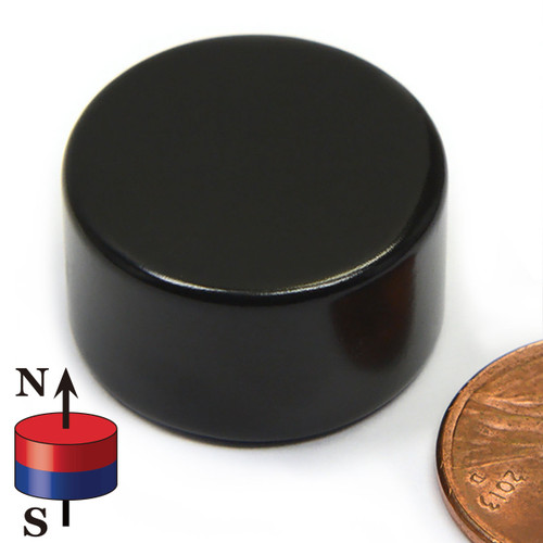 "7/8X1/2"" NdFeB Rare Earth Disc Magnet Black Epoxy Coated"