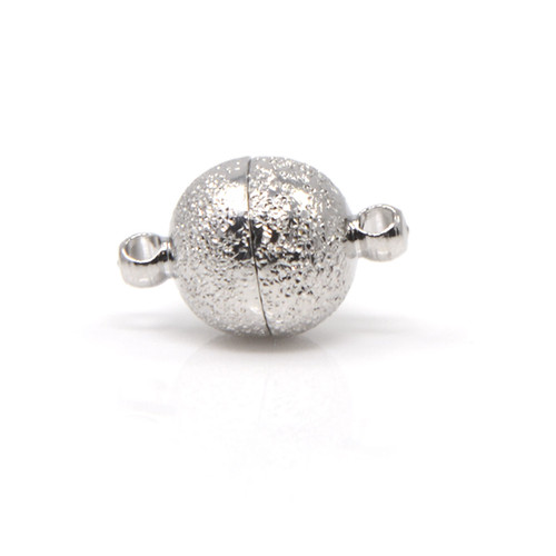 Silver Sandstone Finish Round Neodymium Magnetic Bracelet Clasp