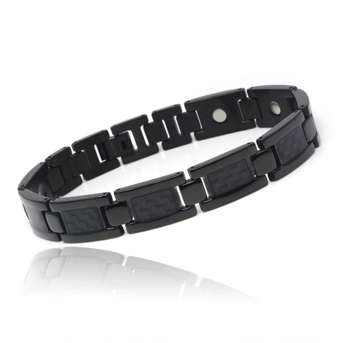 Magnetic Bracelet Men's Black Novoa Titanium  with Carbon Fiber Inlays - 12,800 Gauss B503-Black-0