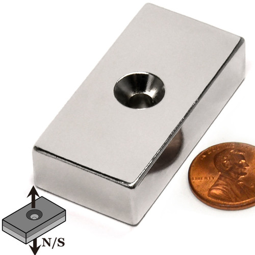 "N52 2""x1""x1/2"" Neodymium Rare Earth Block Magnet /w #10 Countersunk Hole on Both Sides"