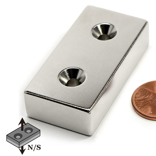 "Neodymium  Block Magnet N50 2""x1""x1/2""  w/  2 #8 Countersunk Holes"
