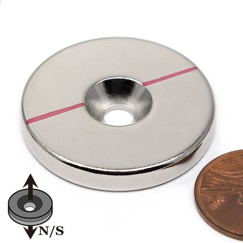 "1.26"" x 3/16"" Neodymium Rare Earth Disc Magnet w/ #10 Countersink"