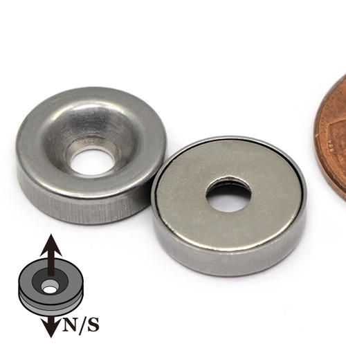 "Stainless Steel Covered 1/2""x1/8"" Neodymium Rare Earth Disc Magnet With #6 Countersink"