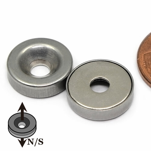 """Stainless Steel Covered 1/2""""x1/8"""" Neodymium Rare Earth Disc Magnet With #6 Countersink"""