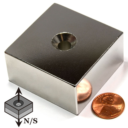 "Neodymium Block Magnet N52 2""x2""x1""with #1/4 Countersunk Hole"