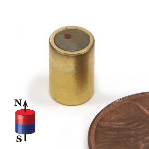 "SmCo26 Cylinder Magnet  1/4"" x 3/8"" Brass Shielded Samarium Cobalt Magnets"