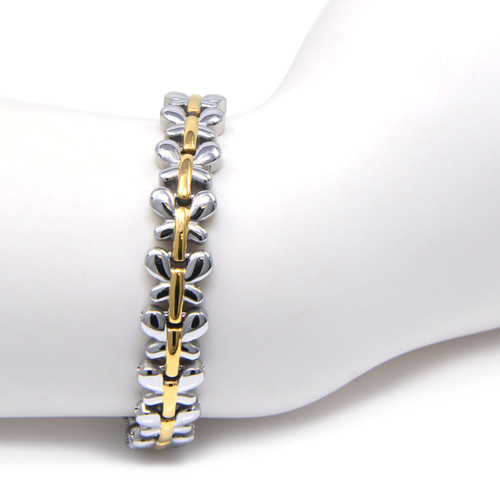 """<img src="""" womens silver stainless & gold color magnet bracelet .png"""" alt=""""casual magnetic therapy jewelry  strong  side view"""">magnetic bracelet,magnetic therapy bracelet,magnetic bracelets, magnetic weight loss bracelet, bio magnetic"""