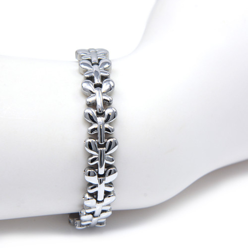 """Quad-Element Silver Stainless Steel Magnetic Butterfly Bracelet <img src="""" womens silver stainless magnet bracelet .png"""" alt=""""casual magnetic therapy jewelry  front view """">"""
