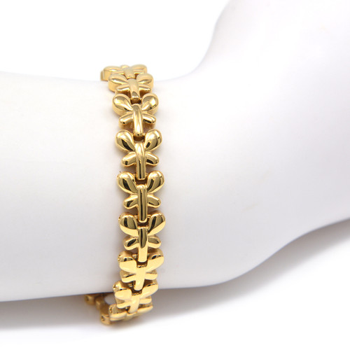 """<img src="""" womensgold color magnet bracelet .png"""" alt=""""casual magnetic therapy jewelry  strong  top view  """"> Quad-Element Gold Stainless Steel Magnetic Butterfly Bracelet"""