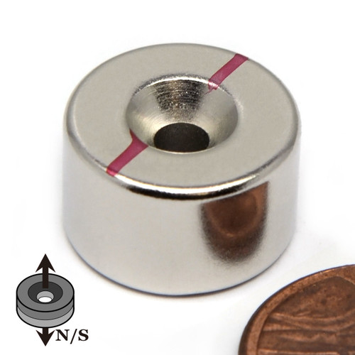 """5/8""""x 3/8"""" Neodymium Disc Magnet w/6 Countersunk Hole on Both Sides"""
