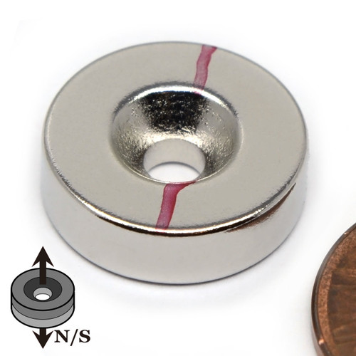 "5/8""x 3/16"" Neodymium Disc Magnet w/6 Countersunk Hole on N or S"