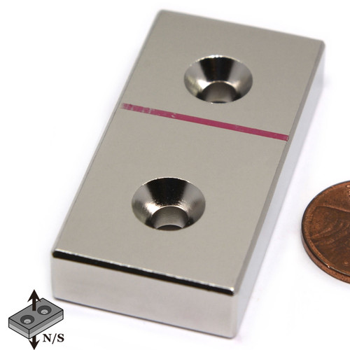 "Bar Magnet Neodymium N45 2x1x3/8"" w/ 2 #8 Countersunk Holes on Both Sides"
