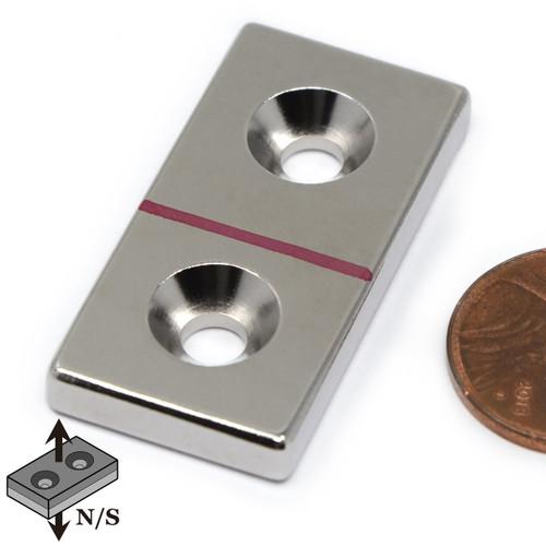 "Block Magnet Neodymium N45 1.5x3/4x3/16""   w/ 2 #8 Countersunk Holes on N or S"