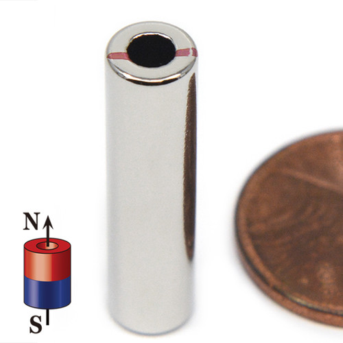 "N45 1/4""OD x 1/8""ID x 1"" Neodymium Rare Earth Ring Magnet"