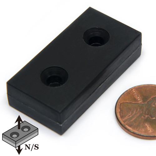 "Block Plastic Coated Neodymium Magnet N52 1.5"" x 3/4"" x 3/8"" w/ 2 #6 Countersunk Holes on Both Sides"