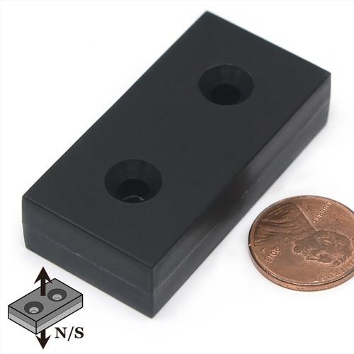 Neodymium Rare Earth Block Magnet /w 2 #8 Countersunk Holes Plastic Coated