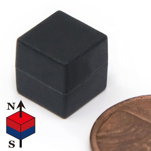 """Neodymium Cube Magnet N52 3/8"""" Plastic Coated"""