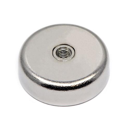 "Neodymium Pot Magnet Dia 1.26"" with 88 LB  Pull & #10-32 Threaded Hole Center Hole"