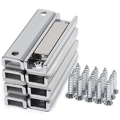 8 Sets of Strong Neodymium Channel Magnets w/ Countersunk Holes, 45 LB Holding Power Each - Matching Screws  Included