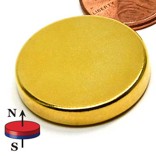 "1""X3/16"" N40 Neodymium Uni-Pole Therapy Magnet gold therapy"