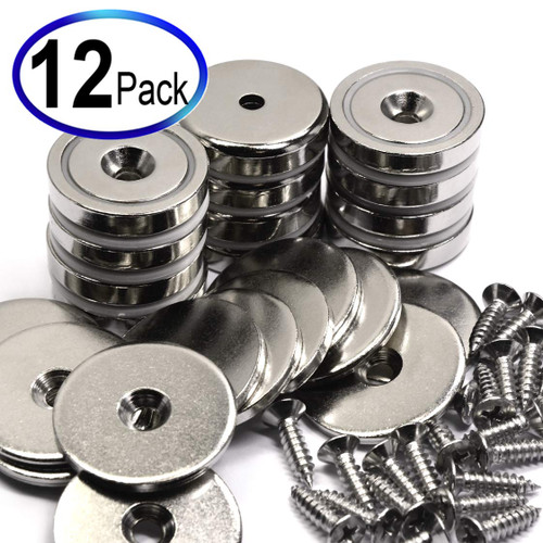 Neodymium Cup Magnets with 88 LBS Pulling Power 12 Count Super Value Pack Each